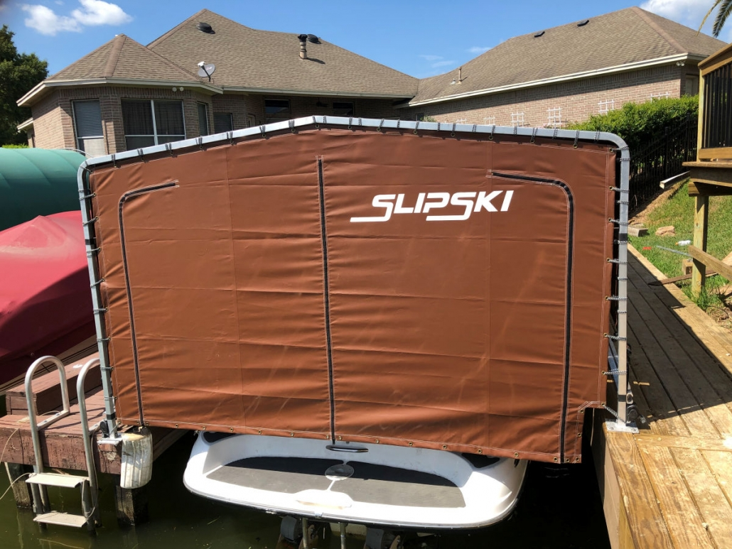 Boat Lift Canopy Cover | Custom Dock Mounted Boat Covers | SlipSki Boating Solutions